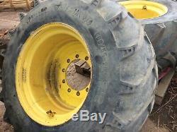 Set of 4 tractor wheels & tyres John Deere 6930, massey ferguson floatation